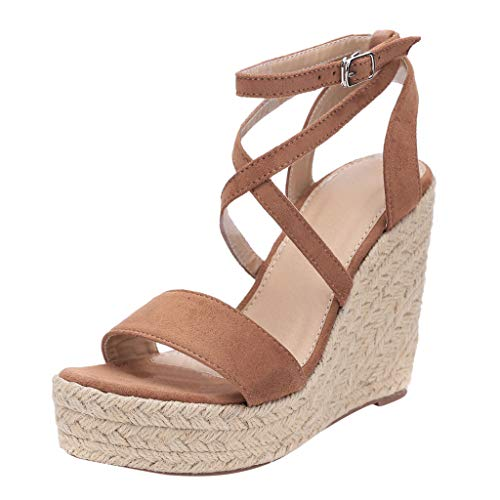 ◕‿◕ Watere◕‿◕ Summer Roman Women's Shoes Wedges with Muffin Bottom Cross with Fashion Sweet Wind Sandals Beach Shoes Brown -