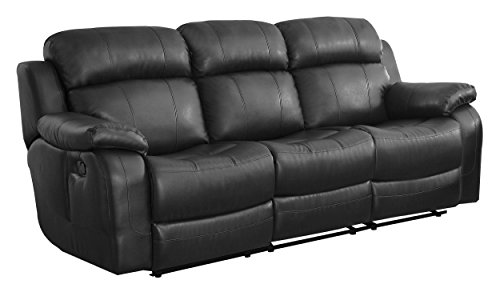 - Homelegance Marille Reclining Sofa w/ Center Console Cup Holder, Black Bonded Leather