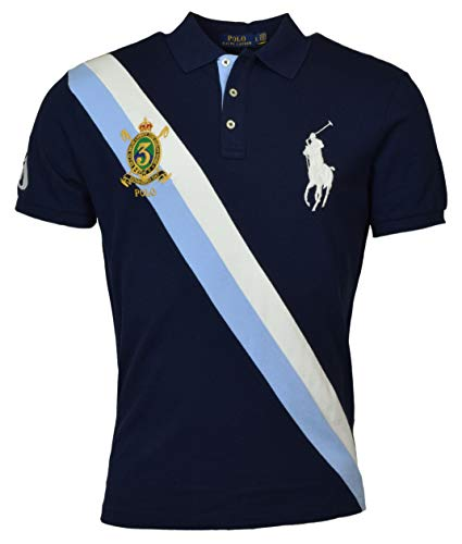 - Polo Ralph Lauren Mens Big Pony Custom Slim Fit Three Button Crest Polo (X-Large, Navy)