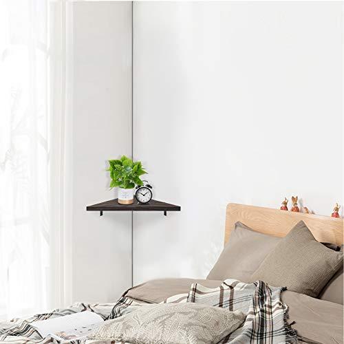 Befayoo Solid Pine Floating Corner Shelves Wall Mounted, Rustic Storage Decorative Shelf for Bathroom, Bedroom, Living Room, Kitchen, Office