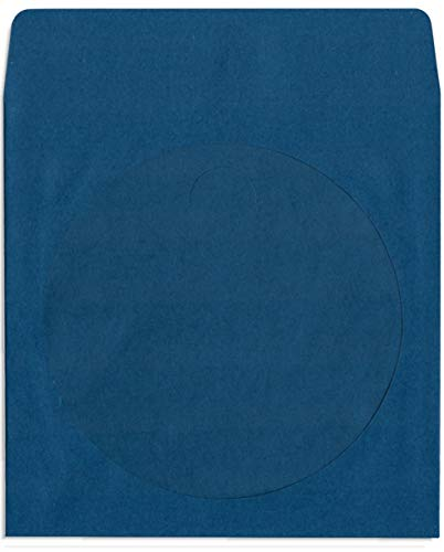 1000-Pak Navy Blue Colored Paper CD/DVD Sleeves with Window & Flap