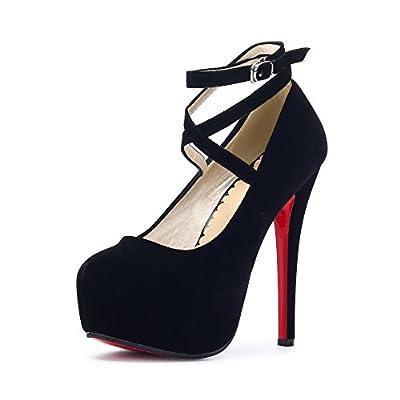 OCHENTA Women's Ankle Strap Platform Pump Party Dress High Heel