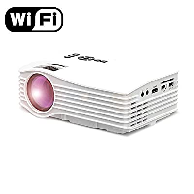 Wifi Full HD Projector, VPRAWLS LCD 130 inch Wireless Video Projector with HDMI USB SD AV for iPhone Android Smartphone Support Airplay Miracast DLAN Outdoors Laptop Game Home Theater