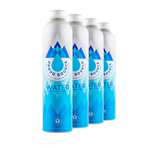 Proud Source Naturally Alkaline 8.5pH+ Spring Water with Electrolytes, BPA Free and Eco Friendly Packaging, 750ml (4 pack)