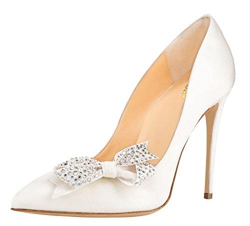 Guoar Donne Stiletto Scarpe A Punta Tacco Alto Bowknot Scarpe Da Ballo Prom Dress Size 5 - 12 Us Bianco Pu