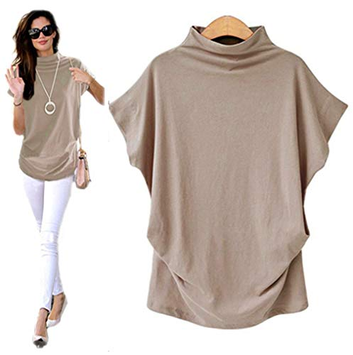 IEasⓄn Plus Size Series Women Casual Loose Flare Sleeve Turtleneck Short Sleeve Tee Shirt Blouse Tops (XXXXXXL, ()