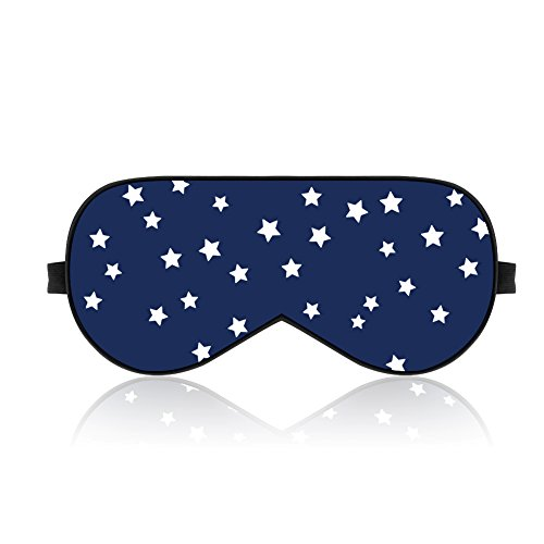 Lonfrote Stars Natural Silk Sleep Mask, Smooth Blindfold with Carry Pouch for Travel, Relax, Shift Workers, Super Soft Fabric (Blue) (Buckle Silk)
