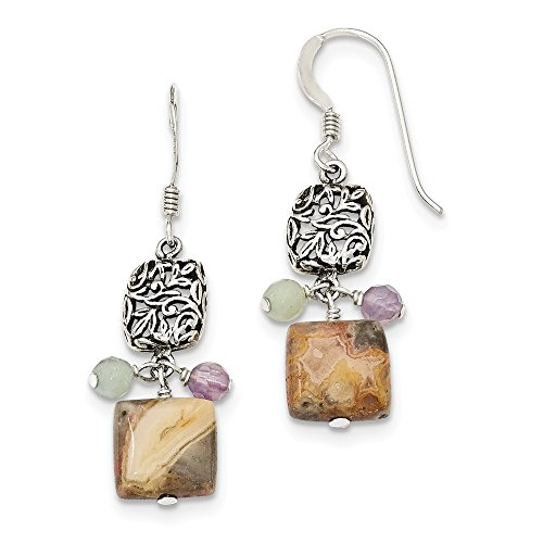 Top 10 Jewelry Gift Sterling Silver Antiqued Amethyst/Green Agate/Jasper Earrings