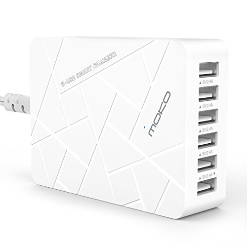 MoKo 6-Port USB Charger, Desktop Charging Station for iPhone X, iPhone 8/ 8 Plus/ 7/ 7 Plus/ 6s/ 6s Plus, iPad Air 2/ Mini 4/ Pro 9.7