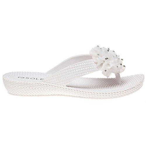 Sole Treacle Damen Sandalen Weiß Weiß ...