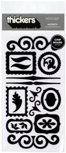 American Crafts Thickers Chipboard Stickers, Accents Black ()