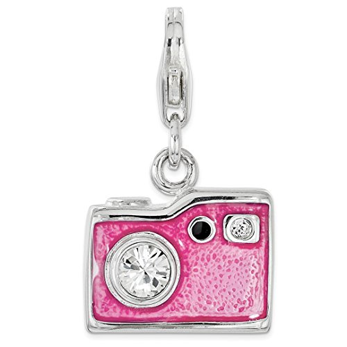 - 925 Sterling Silver Enameled Swarovski Camera Lobster Clasp Pendant Charm Necklace Fine Jewelry For Women Gift Set