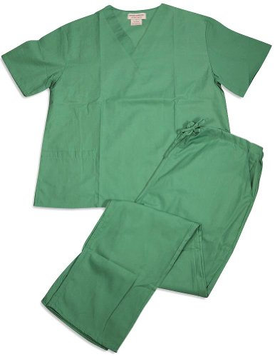 Women's Scrub Set - Medical Scrub Top and Pant, Surgical Green, XXX-Large]()