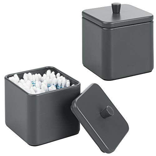 mDesign Metal Bathroom Vanity Countertop Storage Organizer Canister Apothecary Jar for Cotton Swabs, Rounds, Balls, Makeup Sponges, Blenders, Bath Salts - Square, 2 Pack - Matte Slate Gray ()