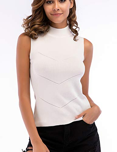 (HYCYG Women's Sleeveless Turtleneck Tank Tops Stretch Ribbed Knit Pullover Sweater White)