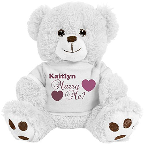 FUNNYSHIRTS.ORG Kaitlyn, Will You Marry Me?: 8 Inch Teddy Bear Stuffed Animal -  Printed by eRetailing, 210571NoSize-White/White