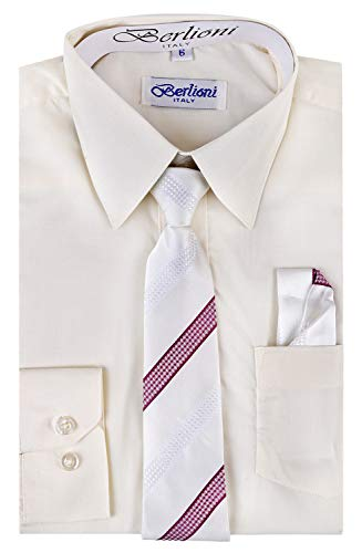 Berlioni Boy's Dress Shirt, Necktie, and Hanky Set - Many Color and Pattern Combinations Off White/Burgundy Size 6
