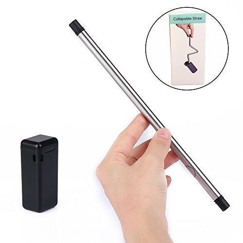 Rommeka Foldable Flexible Nontoxic Straw,Eco-Friendly,BPA Free,Reusable,Healthy,Portable,Unbreakable,Washable,Zero-Waste Premium Stainless Steel Drinking Straws,No Metal Aftertaste & 1 Travel Cases by Rommeka (Image #3)