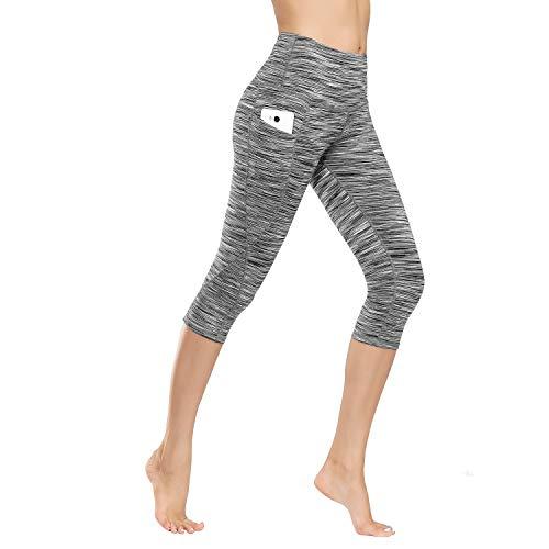 Damen Leggings Lange Yogahose Sporthose Fitnesshose Laufhose 3/4 Training Tights mit Handytasche
