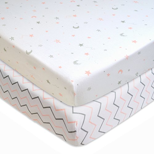 American Baby Company 2 Pack Printed 100% Natural Cotton Jersey Knit Fitted Portable/Mini-Crib Sheet, Pink Stars/Zigzag, Soft Breathable, for Girls
