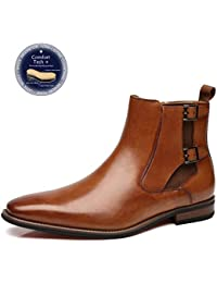 Mens Leather Chelsea Boots Winter Comfortable Formal Dress Monk Strap Ankle Chukka Buckle Slip On Boots