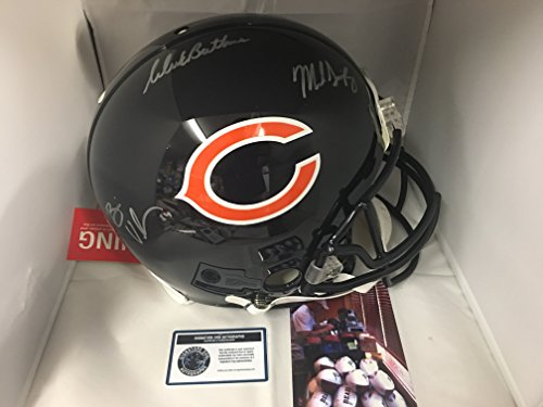 Brian Urlacher Dick Butkus Mike Singletary Triple Autographed Signed Chicago Bears Full Size Proline Authentic Helmet Mounted Memories Urlacher Holo Sig Dog COA (Autographed Authentic Pro Line Helmet)