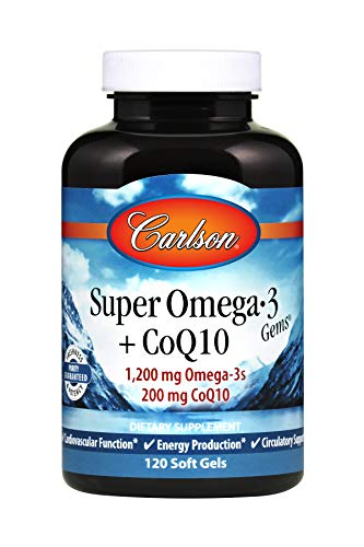 Carlson - Super Omega-3 Gems + CoQ10, 1200 mg Omega-3s 200 mg CoQ10, Cardiovascular Function, Energy Production & Circulatory Support, 120 Soft gels