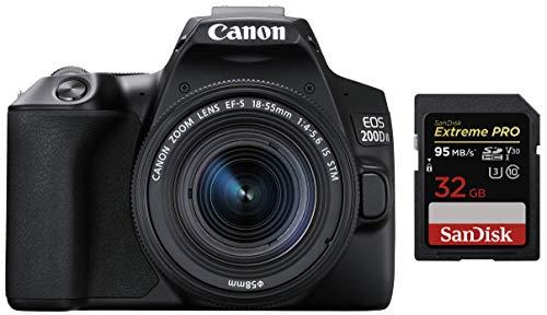 Canon EOS 200D II 24.1MP Digital SLR Camera + EF-S 18-55mm f4 is STM Lens (Black) + SanDisk Extreme 32GB SD Card 1