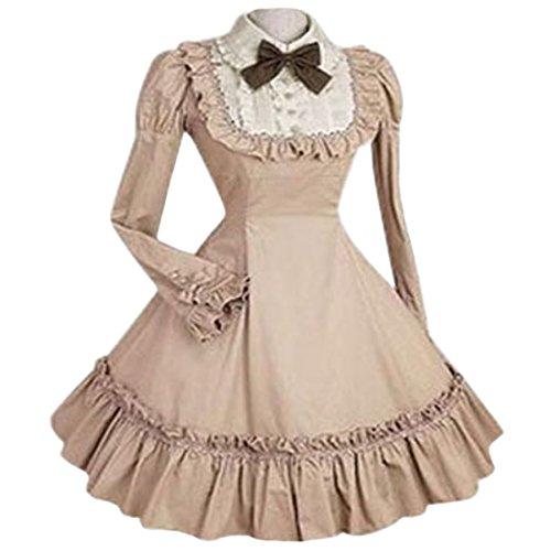 Partiss Women's Classic Lolita Fancy Dress Cosplay Costume Free Petticoat, S, Light Khaki