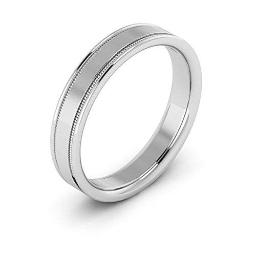Flat Milgrain Wedding Band - Platinum 4mm raised edge with milgrain comfort fit men's & women's wedding bands, 6