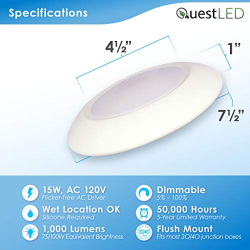 5/6'' Inch LED Slim Cusp Disk Light with 4'' J-box AC Technology (20 Pack) 15W; 120V; CRI>90; Beam Spread 120; 1,000 Lumens; Dimmable; Energy Star and Intertek Listed; (Day Light 5000K) by Quest (Image #2)