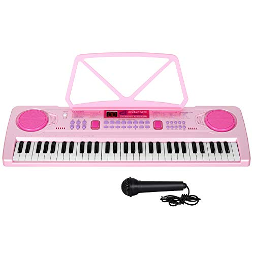 M SANMERSEN 61-Key Electronic Keyboard Piano with LCD Display, Portable Piano Keyboard with Music Stand and Microphone, Music Keyboard with Lighting Teaching Function for Kids Adults Beginners