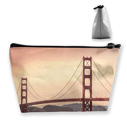 Golden Gate Bridge San Francisco California Toiletry Bag Organizer Portable Gift for Girls Women Large Capacity Cosmetic Train Case for Cosmetics Digital Accessories Premium Clutch Bag (Best Weekend Getaways From Sf)