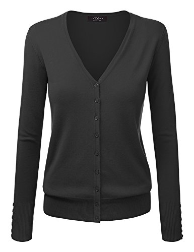 Detail Cardigan V-neck (MBJ WSK780 Womens Keep It Classic V Neck Cardigan S BLACK)