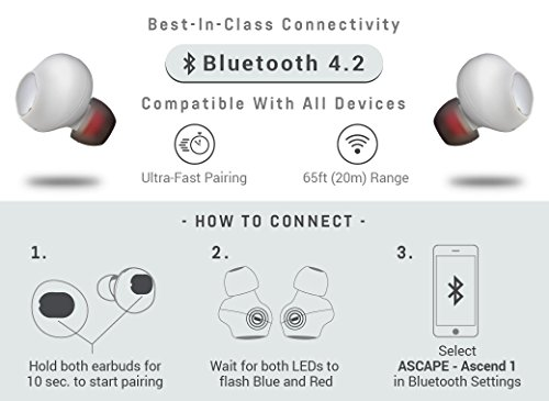 Ascend 1 Truly Wireless Earbuds - Sweatproof In-Ear Noise Cancelling - Bluetooth 4.2 & Mic - U.S. Designed - True Completely Wireless Earbuds - MADE FOR: iPhone 6s / 7 / 8 / X (White) by Ascape (Image #6)