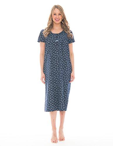 Pink Lady Womens Full Length Sleep Dress Loungewear (Peacoat Blue Butterfly, X-Large) (Cotton Coat Nursing)