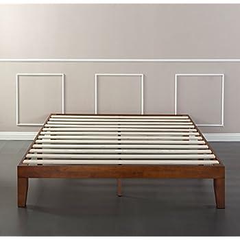 Zinus 12 Inch Wood Platform Bed / No Boxspring Needed / Wood Slat support / Cherry Finish, Full