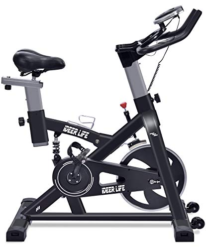 IDEER LIFE Exercise Bike Stationary Indoor Cycling Bike for Home Sport Workout,Height Adjustable Sport Exercise Bike for Home Indoor Cardio,w/Pulse Sensor&LCD Monitor,Max Capacity:330lb (Black09060)