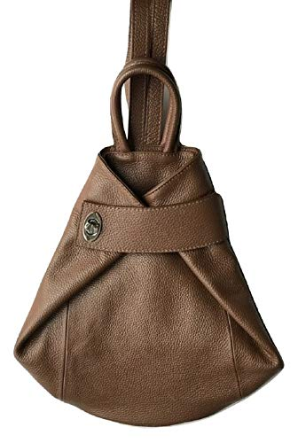 Leather Italy Fashion - LaGaksta Stella Italian Leather Fashion Backpack Purse Top-Handle Shoulder Bag Brown