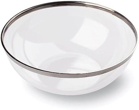 MOZAIK 4 cuencos pequeños de plástico de 14cm (400ml) transparentes con el borde plateado