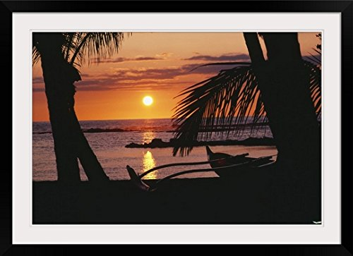 GreatBIGCanvas ''Hawaii, Big Island, Outrigger Canoe Resting on A Tropical Beach'' by Allan Seiden Photographic Print with Black Frame, 36'' x 24'' by greatBIGcanvas