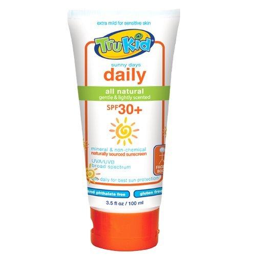 TruKid Sunny Days Daily, Mineral Sunscreen SPF 30, Broad Spectrum, Light Citrus Scent, 3.5 Oz