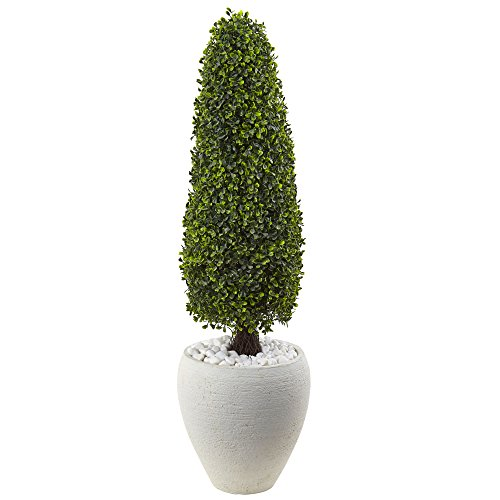 Nearly Natural 5962 41'' UV Resistant (Indoor/Outdoor) Boxwood Topiary with Textured White Planter by Nearly Natural