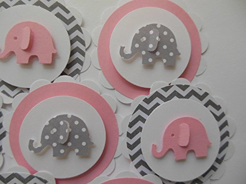 Elephant Cupcake Toppers - Pink, Gray Polka Dots and Gray Chevron - Set of 12