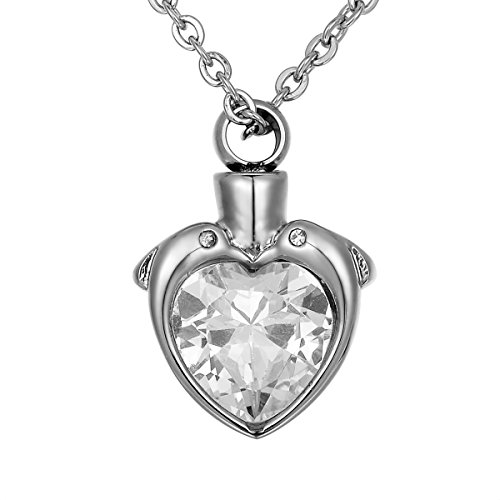 - Valyria Crystal Double Dolphins Charm Urn Pendant Stainless Steel Waterproof Memorial Ash Keepsake Necklace
