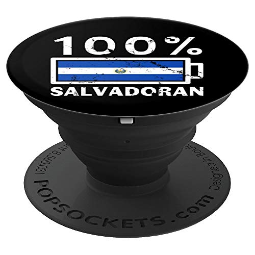 El Salvador Flag Design | 100% Salvadoran Battery Power Tee - PopSockets Grip and Stand for Phones and Tablets