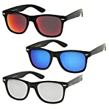 zeroUV - Matte Finish Reflective Color Mirror Lens Large Square Horn Rimmed Sunglasses 55mm (3 Pack | Blue + Silver + R)