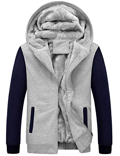 Blue Lined Jacket - Yeokou Men's Winter Thicken Fleece Sherpa Lined Zipper Hoodie Sweatshirt Jacket (X-Large, Z Grey Blue)