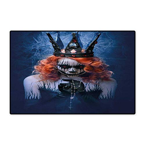 Queen,Bath Mat,Queen of Death Scary Body Art Halloween Evil Face Bizarre Make Up Zombie,Doormat Outside,Navy Blue Orange Black -