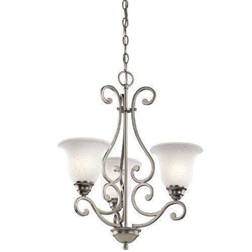 Kichler Lighting 43223NI Camerena 3-Light Chandelier, Brushed Nickel Finish with White Scavo Glass